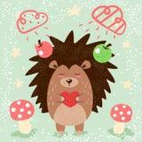 Cartoon funny hedgehog illustration for print t-shirt. vector illustration