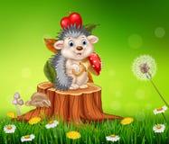 Cartoon funny hedgehog sitting on tree stump Stock Images