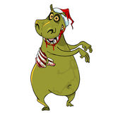 Cartoon funny hippo zombie in santa hat. Dancing Royalty Free Stock Photography