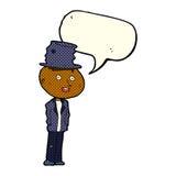 Cartoon funny hobo man with speech bubble Stock Photo