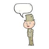 cartoon funny hobo man with speech bubble Stock Image