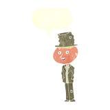Cartoon funny hobo man with speech bubble Stock Photos