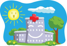Cartoon of Funny Hospital Building Stock Photo