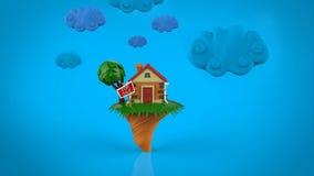 Cartoon funny  house in summer season Royalty Free Stock Photo