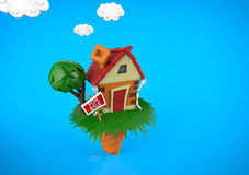 Cartoon funny  house in summer season, with blue clouds Royalty Free Stock Photo
