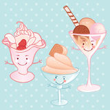 Cartoon funny ice cream set Stock Photos