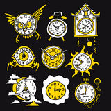 Cartoon funny icons with watch Stock Photography