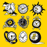 Cartoon funny icons with watch Royalty Free Stock Image