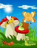 Cartoon funny insects with mushroom stock illustration