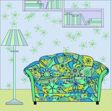Cartoon funny interior with couch painted blue and green silhouette Stock Image