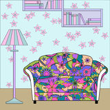 Cartoon funny interior with couch painted colorful silhouette Stock Images