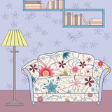 Cartoon funny interior with couch painted vintage silhouette Royalty Free Stock Photo