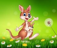 Cartoon funny kangaroo carrying a cute Joey Stock Images