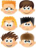 Cartoon funny kids with emotions,vector Stock Photography
