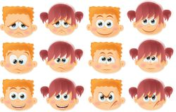 Cartoon funny kids with emotions,vector Royalty Free Stock Photography