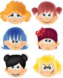 Cartoon funny kids with emotions,vector. Illustration picture Royalty Free Stock Images