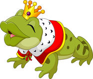Cartoon funny king frog king blowing a kiss Stock Photo