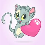 Cartoon funny kitty holding a love heart. Vector illustration for St Valentines Day. Isolated. Cartoon funny kitty holding a love heart. Vector illustration for Royalty Free Stock Photo