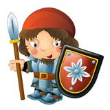 Cartoon funny knight with sword and shield - white background Stock Photos