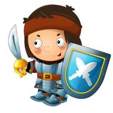 Cartoon funny knight with sword and shield - white background Stock Photography