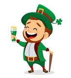 Cartoon funny leprechaun holding a glass of beer Stock Images