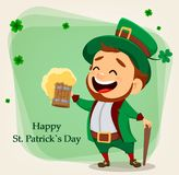 Cartoon funny leprechaun holding a pint of beer Royalty Free Stock Photography
