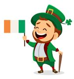 Cartoon funny leprechaun with Irish flag and cane. Happy Saint Patrick`s Day. Character with green hat. Cartoon funny leprechaun with Irish flag and cane. Vector Royalty Free Stock Photography
