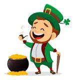 Cartoon funny leprechaun with smoking pipe and cane standing nea. Happy Saint Patrick`s Day. Character with green hat. Cartoon funny leprechaun with smoking pipe Stock Images