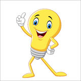Cartoon funny light bulb pointing his finger Stock Image