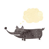 Cartoon funny little dog with thought bubble Royalty Free Stock Images