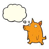 cartoon funny little dog with thought bubble Royalty Free Stock Image