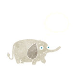 Cartoon funny little elephant with thought bubble Royalty Free Stock Photos