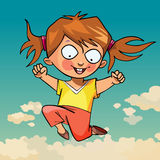 Cartoon funny little girl joyfully jumping Stock Photos