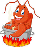 Cartoon funny lobster being cooked in a pan. Illustration of Cartoon funny lobster being cooked in a pan Stock Photos