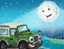 Cartoon funny looking military off road truck driving through the city or parking Stock Images