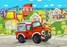 Cartoon funny looking off road car driving through the city. Beautiful colorful illustration caricature for the children for different usage stock illustration