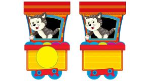 Free Cartoon Funny Looking Steam Train On White Background With Animal Stock Photography - 164376012