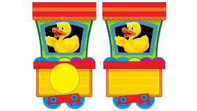 Free Cartoon Funny Looking Steam Train On White Background With Animal Stock Image - 164390351