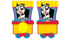 Free Cartoon Funny Looking Steam Train On White Background With Animal Royalty Free Stock Image - 164390386