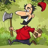 Cartoon funny lumberjack runs through the forest with an ax Royalty Free Stock Photography