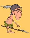 Cartoon funny man aboriginal indian with a spear in his hand. Cartoon funny man aboriginal indian with spear in his hand Royalty Free Stock Images