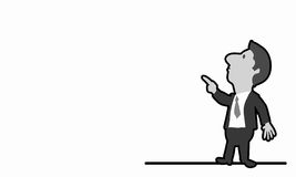 Cartoon funny man. Caricature of funny businessman on white background Stock Photography