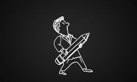 Cartoon funny man. Caricature of funny man with pencil on black background Stock Photography