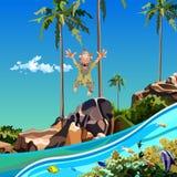 Cartoon funny man jumping into the sea near a tropical island. Cartoon funny man jumping into the sea near tropical island Royalty Free Stock Image