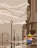 Cartoon funny man staring at an apple. Standing in the city Royalty Free Stock Photos