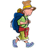 Cartoon funny man tourist with a backpack going Stock Photography