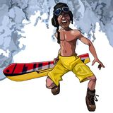 Cartoon funny man walks with a snowboard. In shorts on a winter background Royalty Free Stock Images