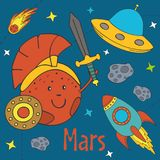 Cartoon funny Mars. Vector illustration, eps Stock Photos