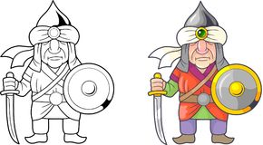 Funny medieval warrior arab, coloring book. Cartoon funny medieval warrior arab, coloring book Royalty Free Stock Photography