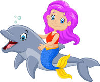 Cartoon funny mermaid swimming with friendly dolphin Stock Images